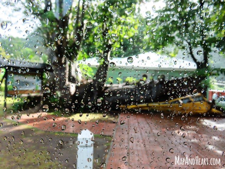 Crushed bus in Roseau Botanical Gardens