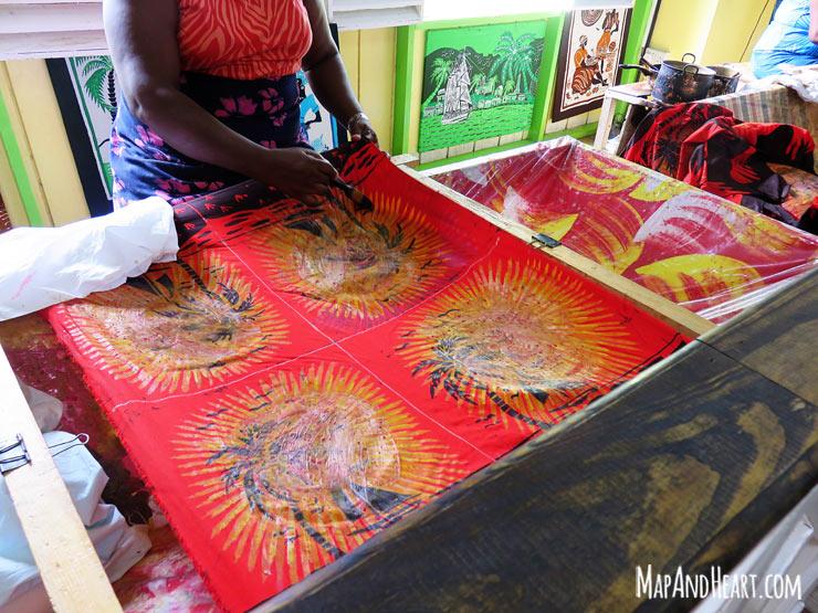 Batik demonstration at Romney Manor, St. Kitts