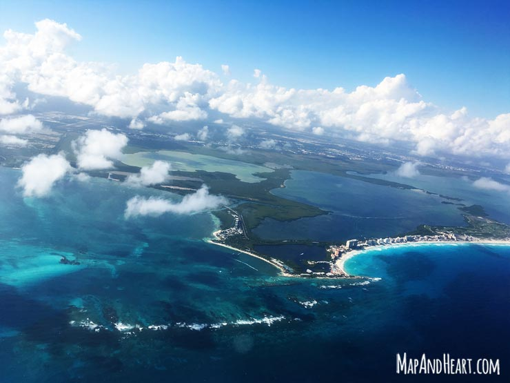 View of Riviera Maya, Mexico from airplane