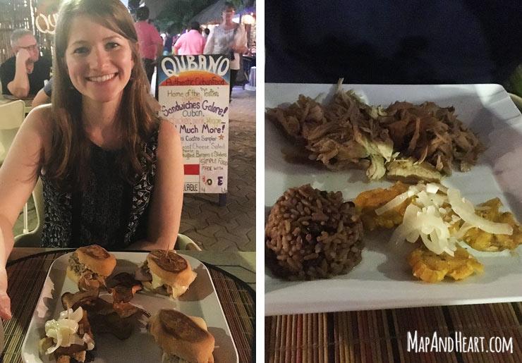 Slider sampler and pork dinner at Qubano in Isla Mujeres, Mexico