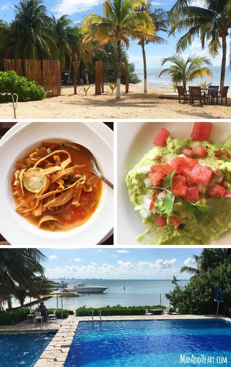 Zama Beach Club Isla Mujeres Mexico, Yucatan Lime Soup, Watermelon Guacamole, Pool
